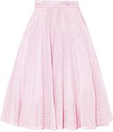 Maje Metallic pleated cotton-mesh midi skirt