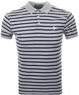 Ralph Lauren Stripe Polo T Shirt Grey