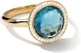Ippolita 18kt yellow gold small Lollipop diamond and London blue topaz ring