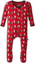 Kickee Pants Print Footie (Baby) - Crimson Busy Beaver - Newborn