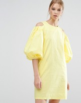 Style Mafia Cold Shoulder Yellow Dress