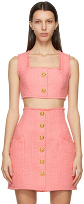 Balmain Pink Tweed Cropped Tank Top
