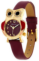 C. Wonder Owl Motif Leather StrapWatch