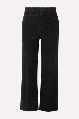 J Brand Joan Cropped Cotton-blend Corduroy Wide-leg Pants - Black