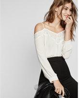 Express cold shoulder lace trim long sleeve blouse