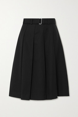 Officine Generale Kendall Belted Pleated Wool Skirt - Black