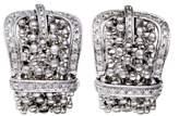 Damiani 18K White Gold Diamond Pave Buckle Wide Huggie Earrings