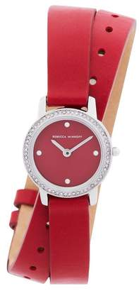 Rebecca Minkoff Major Silver Tone Red Vegan Leather Strap Watch, 22Mm