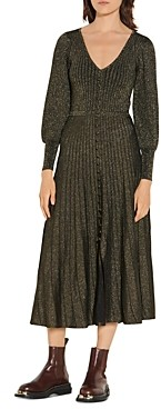 Sandro Aure Long Lurex Knit Dress