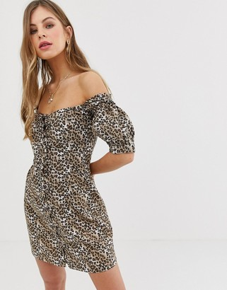 Asos DESIGN lace up mini sundress in leopard print