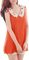 Allegra K Women Crochet Doll Collar Scallop Hem Sheer Chiffon Tank Top S