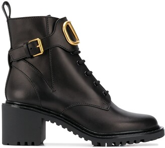 Valentino Logo Applique Buckled Booties