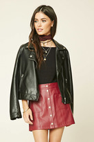 Forever 21 FOREVER 21+ Button Faux Leather Mini Skirt