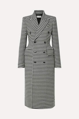 Balenciaga Double-breasted Houndstooth Wool-blend Coat - Black