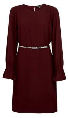 Dorothy Perkins Womens **Oxblood Shirred Cuff Shift Dress, Red
