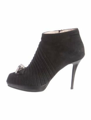 Salvatore Ferragamo Suede Grosgrain Trim Boots Black