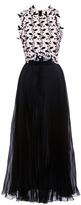 Giambattista Valli Short Sleeve Eyelet Leaf Dress