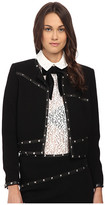 The Kooples Short Jacket with Stud Leather Ribbon Details