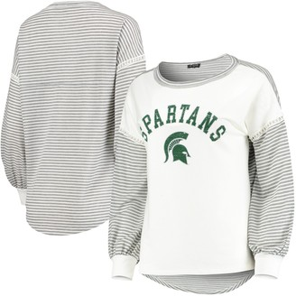 Women's White Michigan State Spartans Line It Up Striped Bubble Long Sleeve T-Shirt