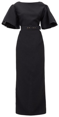 Emilia Wickstead Lilia Belted Seersucker-organza Maxi Dress - Black