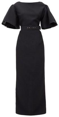 Emilia Wickstead Lilia Belted Seersucker-organza Maxi Dress - Womens - Black