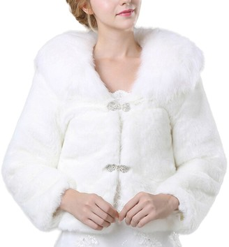 ICEGREY Winter Faux Fur Wraps Shawls Jackets for Wedding Evening Party Bride Coats White