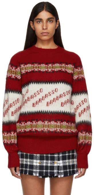 MSGM Red Long Barbaso Sweater