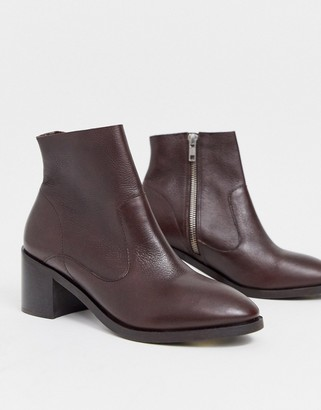 Office alford block heel leather ankle boots in chocolate
