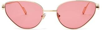 Cat Eye Cartier Eyewear - Premiere De Cartier Metal Sunglasses - Womens - Pink Gold