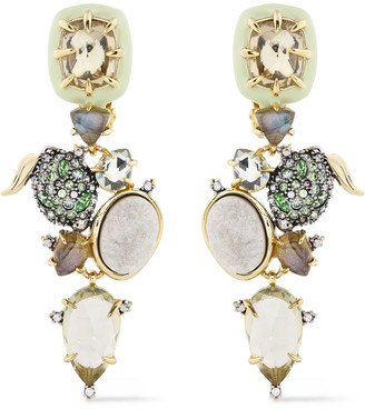 Alexis Bittar Gold-tone, Crystal And Stone Earrings