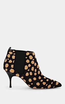 Manolo Blahnik Women's Dildi Calf-Hair Chelsea Boots - Black Pony