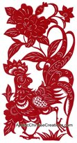 Artistic Chinese Creations Chinese Folk Art - Chinese Zodiac Signs - Chinese Paper Cuts - Rooster