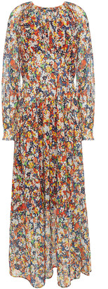 Iris & Ink Andrea Gathered Floral-print Crepe De Chine Maxi Dress