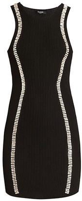 Balmain Crystal-Embellished Rib-Knit Mini Dress