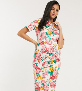 ASOS DESIGN Maternity wiggle midi dress in floral print