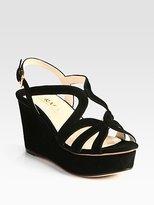 Prada Suede Multistrap Wedge Sandals