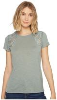 Romeo & Juliet Couture Short Sleeve Shoulder Lace Top