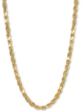 "Italian Gold 28"" Rope Chain Necklace in 14k Gold"