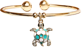 Sweet & Soft Gold & Blue Turtle Charm Cuff With Swarovski® Crystals