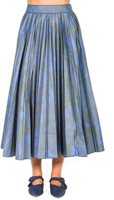 Agnona Printed Pleated Midi Skirt