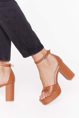 Nasty Gal Womens Croc It Off Faux Leather Platform Heels - brown - 4