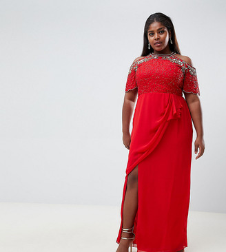Virgos Lounge Plus reign embellished cold shoulder maxi dress with wrap skirt in red