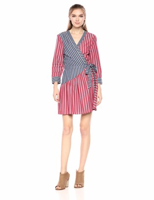 BCBGeneration Women's Mixed Stripe Wrap Dress