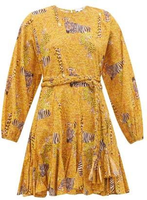 Rhode Resort Ella Safari Print Cotton Voile Mini Dress - Womens - Yellow Multi