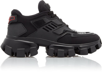 Prada Combat Leather-Trimmed Mesh And Rubber Sneakers