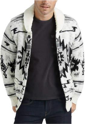 Lucky Brand Men Printed Shawl-Collar Sweater