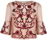 River Island Womens Light pink floral embroidered top