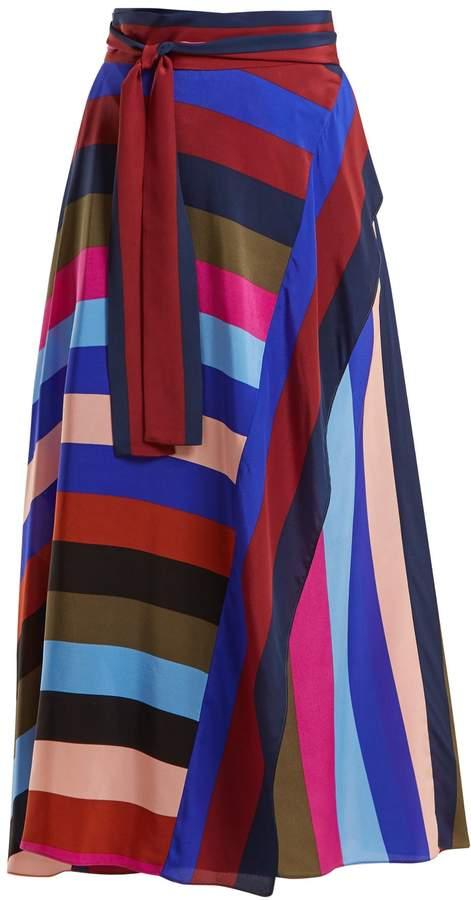 Diane von Furstenberg Carson striped silk wrap skirt