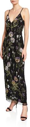 Flor Et. Al Liv Beaded Viola V-Neck Sleeveless Gown