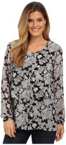 Miraclebody Jeans Delilah Chantilly Lace Print Blouse w/ Body-Shaping Inner Shell